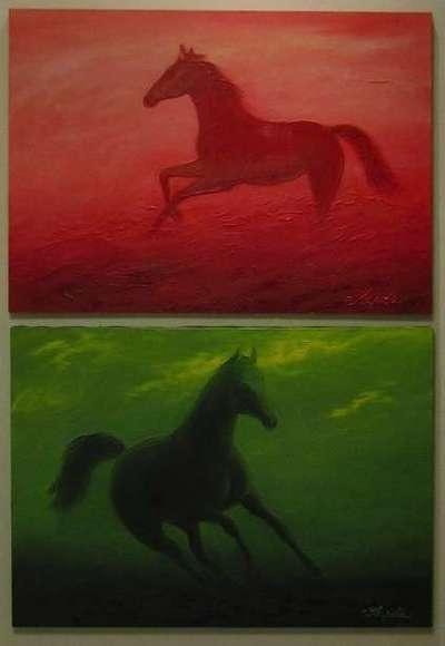 Картина «Красная и зеленая лошадь»
