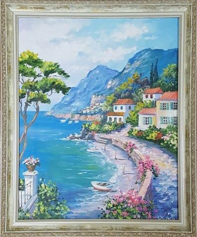 Картина «Средиземноморский пейзаж» - купить картину маслом в Киеве - картины для современных интерьеров Украина - живопись пейзаж
