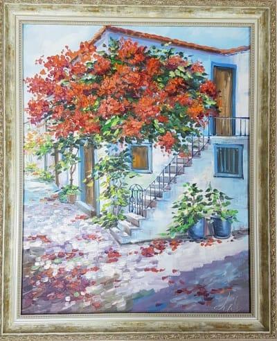 Картина «Цветущий дворик» - купить картину маслом в Киеве - картины для современных интерьеров Украина - живопись пейзаж