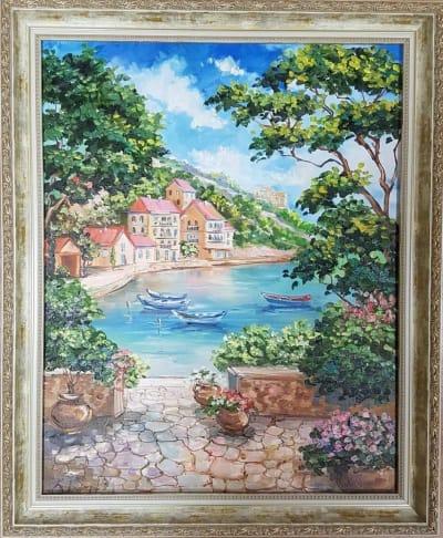 Картина «Теплое Средиземноморье» - купить картину маслом в Киеве - картины для современных интерьеров Украина - живопись пейзаж