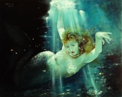 Картина «Русалка», многослойная техника живописи