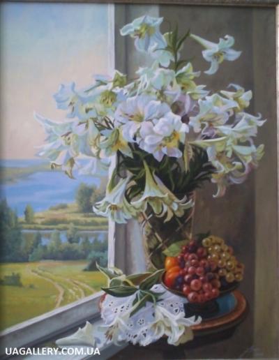 Картина «Натюрморт с белыми цветами»