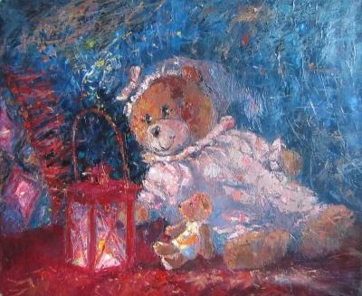 Картина для детей «Мишка и Фонарик»