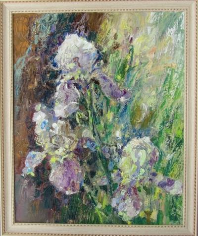 Картина маслом цветы «Ирисы»