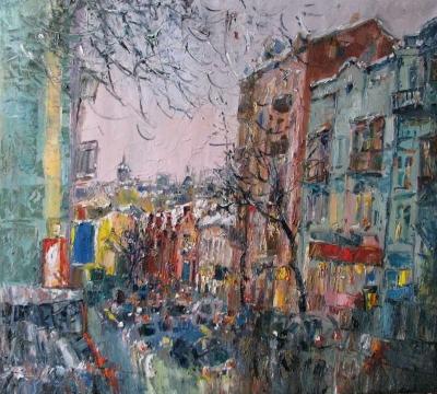 Картина пейзаж Киева «Михайловская вечером»