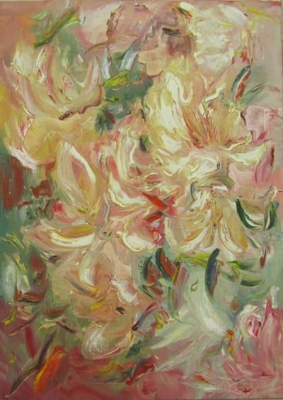 Картина абстрактных цветов Диптих часть 1
