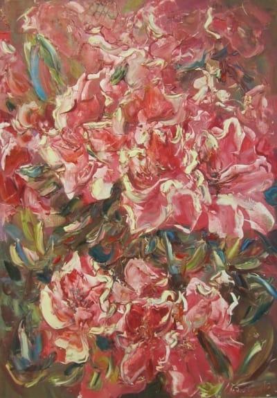 Картина абстрактных цветов Диптих часть 2