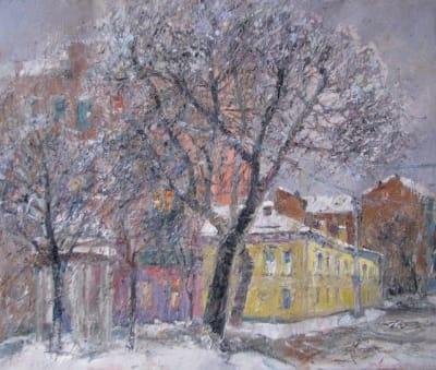 Зимний пейзаж Киева «Волошская улица»