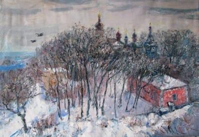 Картина зимнего пейзажа «Ионовский монастырь»
