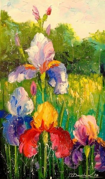 Картина маслом цветы «Ирисы» - современная живопись Украина