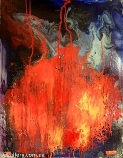 Абстрактная картина «Параллельная реальность. Красный»