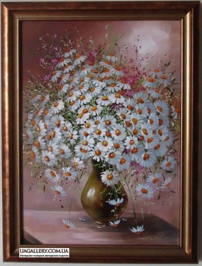 Картина «Ромашки в вазе»