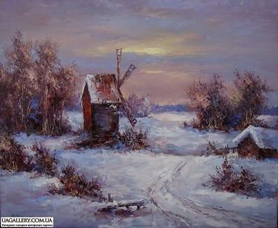 Картина «Зимний пейзаж. Мельница»