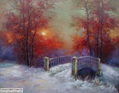 Картина «Зимний пейзаж. Мостик»
