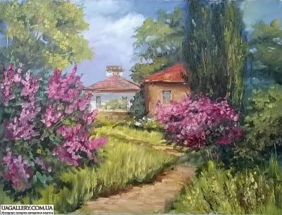 Картина «Цветущий дворик»
