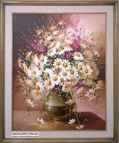 Картина «Ваза с ромашками»