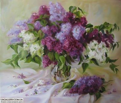 Картина «Весенний букет сирени»
