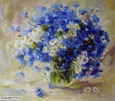 Картина «Ромашки с васильками»