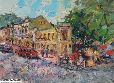 Картина «Виды Киева. Андреевский, театр Колесо»