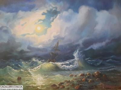 Картина «Бурное море ночью» копия картины Айвазовского