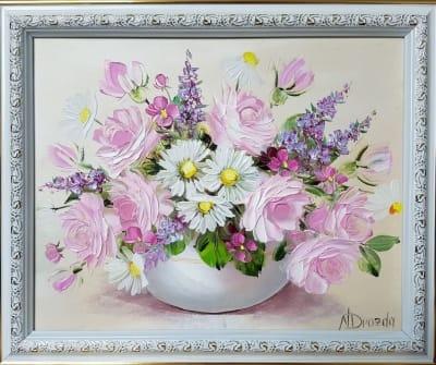 Картина «Летний розовый букетик»