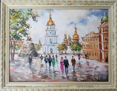Картина «Виды Киева. Михайловская площадь» в раме