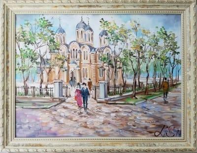 Картина «Виды Киева. Владимирский собор» в раме