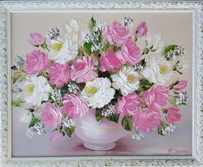 Картина «Пышность пионов» купить картину маслом цветы в Киеве