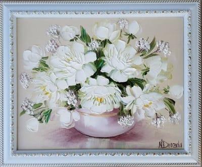 Картина «Белые пионы» 4