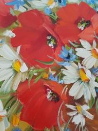 Картина маслом цваеты маки и ромашки  «Поцелуй лета: маки, ромашки, васильки»