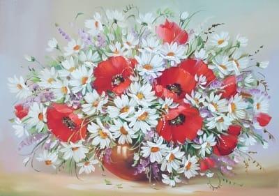 Картина маслом маки купить Киев «Маки с ромашками - теплые воспоминания лета»