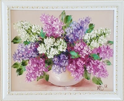 Картина маслом на холсте «Сирень» 14