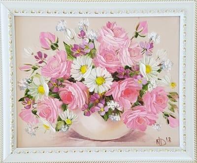 Картина маслом розы «Букетик роз с ромашками»
