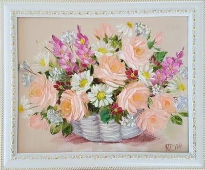 Картина маслом розы  Украина «Букетик роз с ромашками» 2