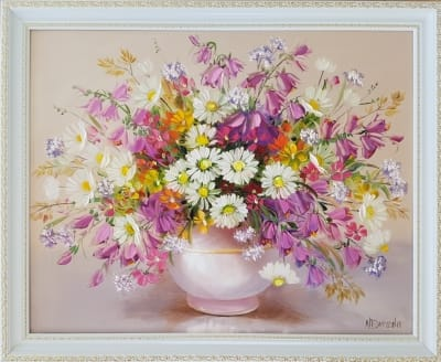 Картина маслом полевые цветы «Теплые краски лета»