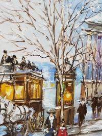 Картина маслом городской пейзаж «Зимний пейзаж» живопись Украина