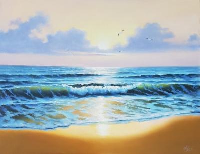 Морской пейзаж картина маслом «Прибой» живопись Киев