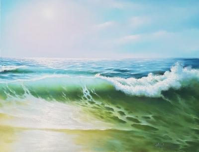 Картина маслом морской пейзаж «Светлая волна» живопись Украина