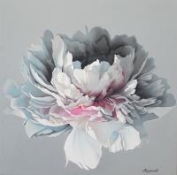 Картина маслом белые пионы «Нежность» живопись цветы Киев