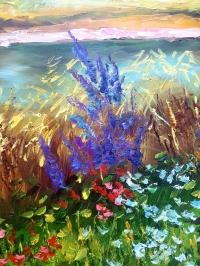 Картина маслом пейзаж Прованс «Теплый Прованс» - живопись для современных интерьеров