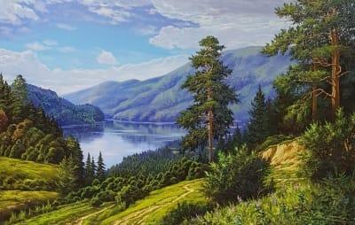 Картина маслом пейзаж «Воспоминания» - копия картины Сергея Басова - живопись для современных интерьеров