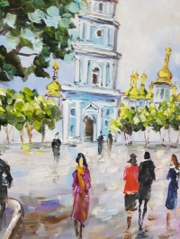 Картина маслом городской пейзаж Киева «Виды Киева. София» - живопись для современных интерьеров