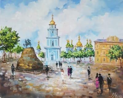Картина маслом городской пейзаж Киева «Виды Киева. Софиевская площадь» - живопись для современных интерьеров