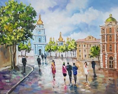 Картина маслом пейзаж «Виды Киева. Величественная София» - современная живопись