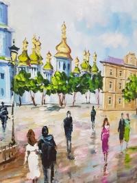 Картина маслом пейзаж «Виды Киева. Софиевская площадь» - живопись для современных интерьеров