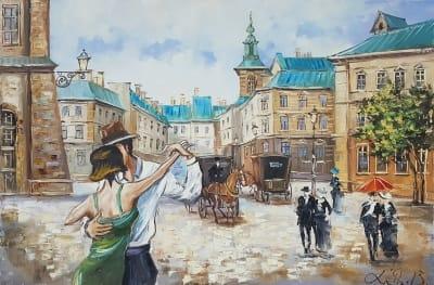 Картина «Наш вечер» - купить картину маслом в Киеве - картины для современных интерьеров Украина - живопись пейзаж