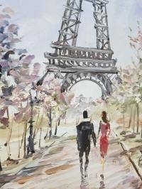 Картина маслом «Париж для нас двоих» - современная живопись