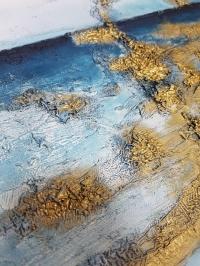 Картина маслом абстракция море «На краю воды» живопись для современных интерьеров