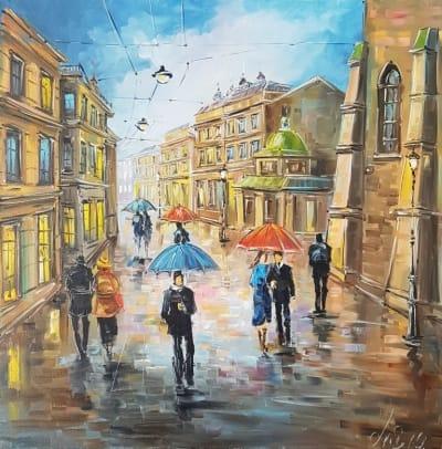 Картина «Прекрасная музыка дождя. Виды Львова» - купить картину маслом в Киеве - картины для современных интерьеров Украина - живопись городской пейзаж