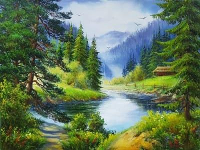 Картина маслом летний пейзаж «Величие горной тишины» - купить живопись для современных интерьеров Украина